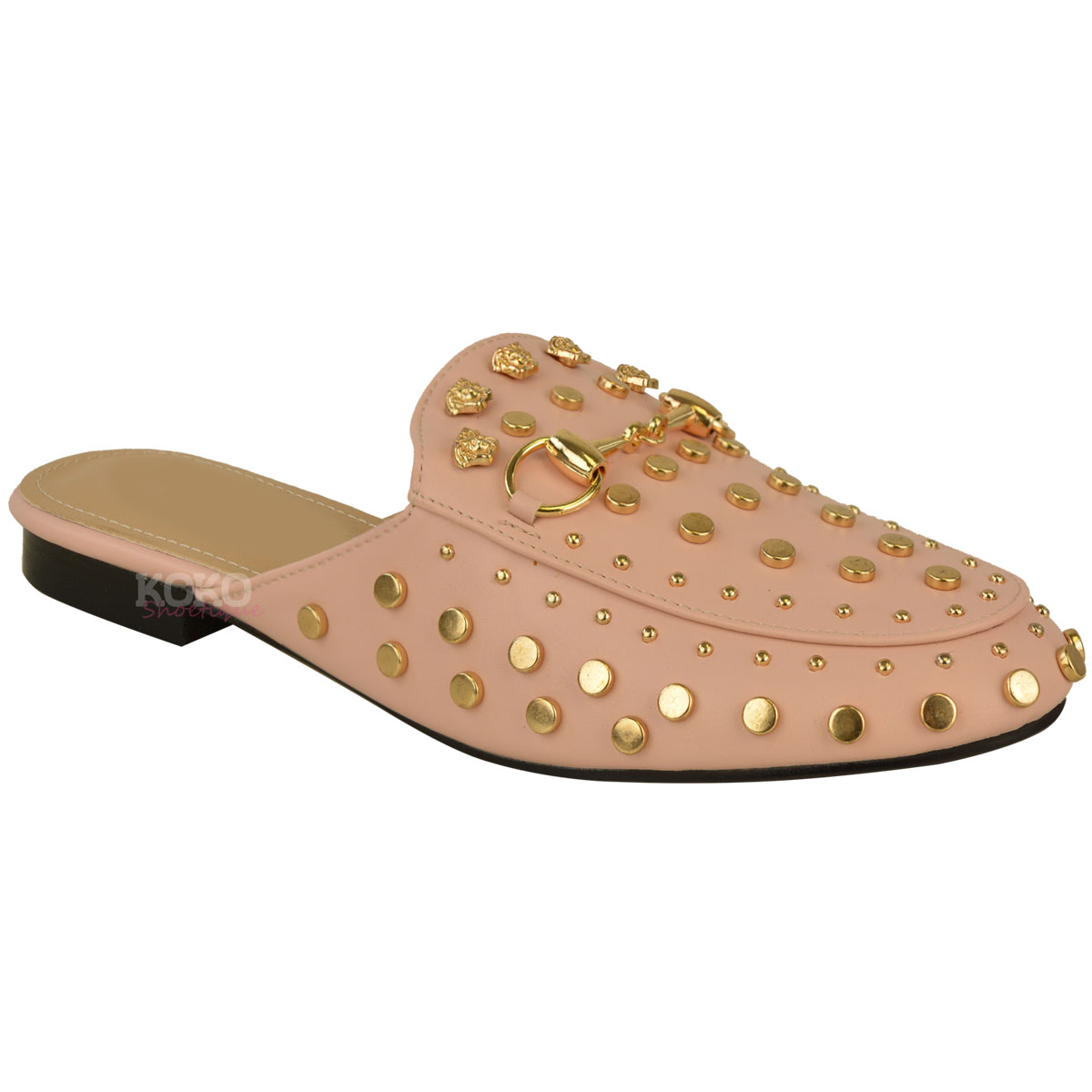 Womens Ladies Slip On Flat Sliders Studded Loafers Smart ...