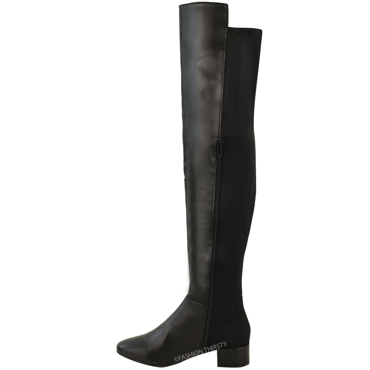 new womens ladies over the knee riding flat boots calf