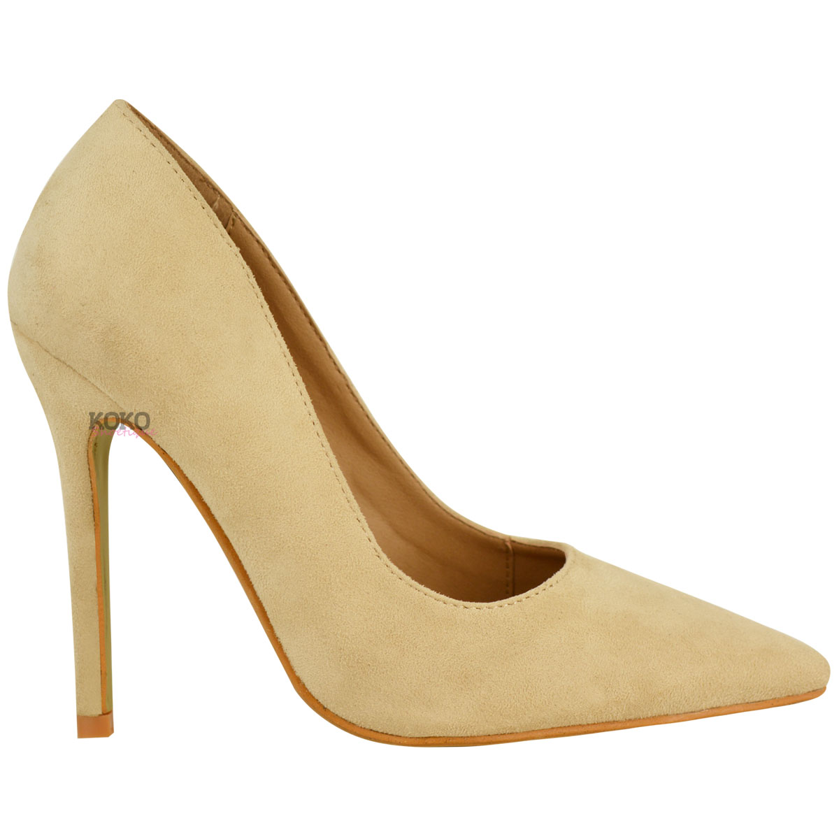 Gold Pointed Court Shoes
