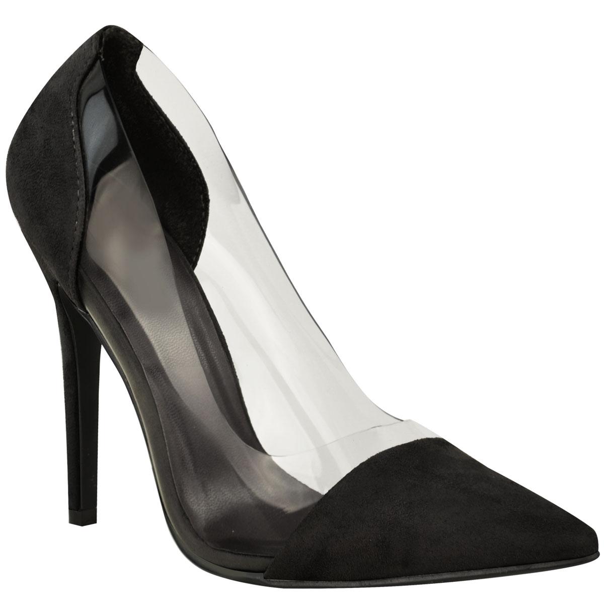 Mujer señoras Perspex Transparente De Salón Zapatos de Taco Alto Fiesta Sandalias Tribunal Zapatos Talla Uk