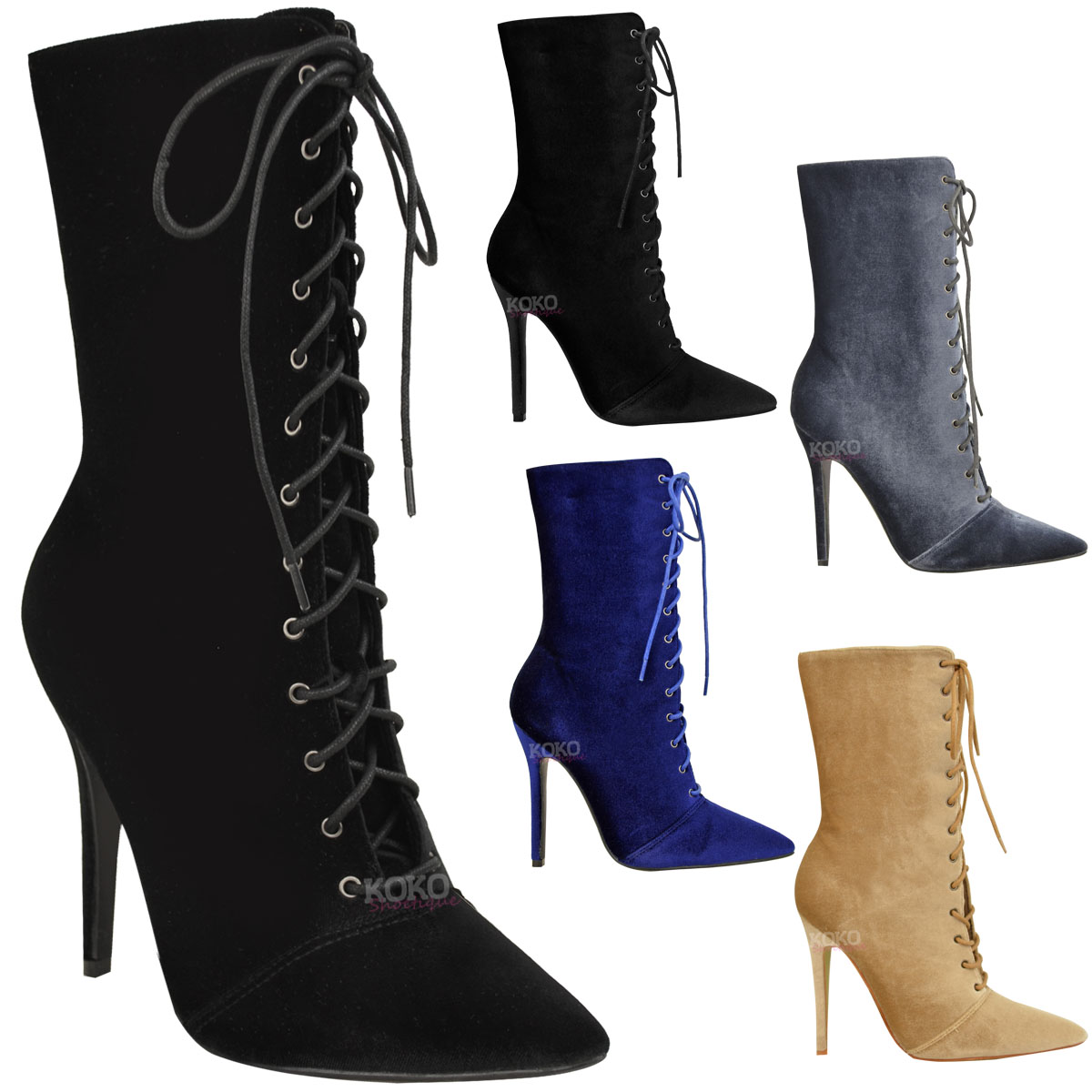 Women's Lace Up Ankle Stiletto Heeled Bootie
