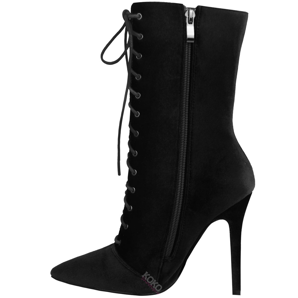 Ladies Womens Lace Up Stretchy High Heel Stiletto Ankle Boots ...