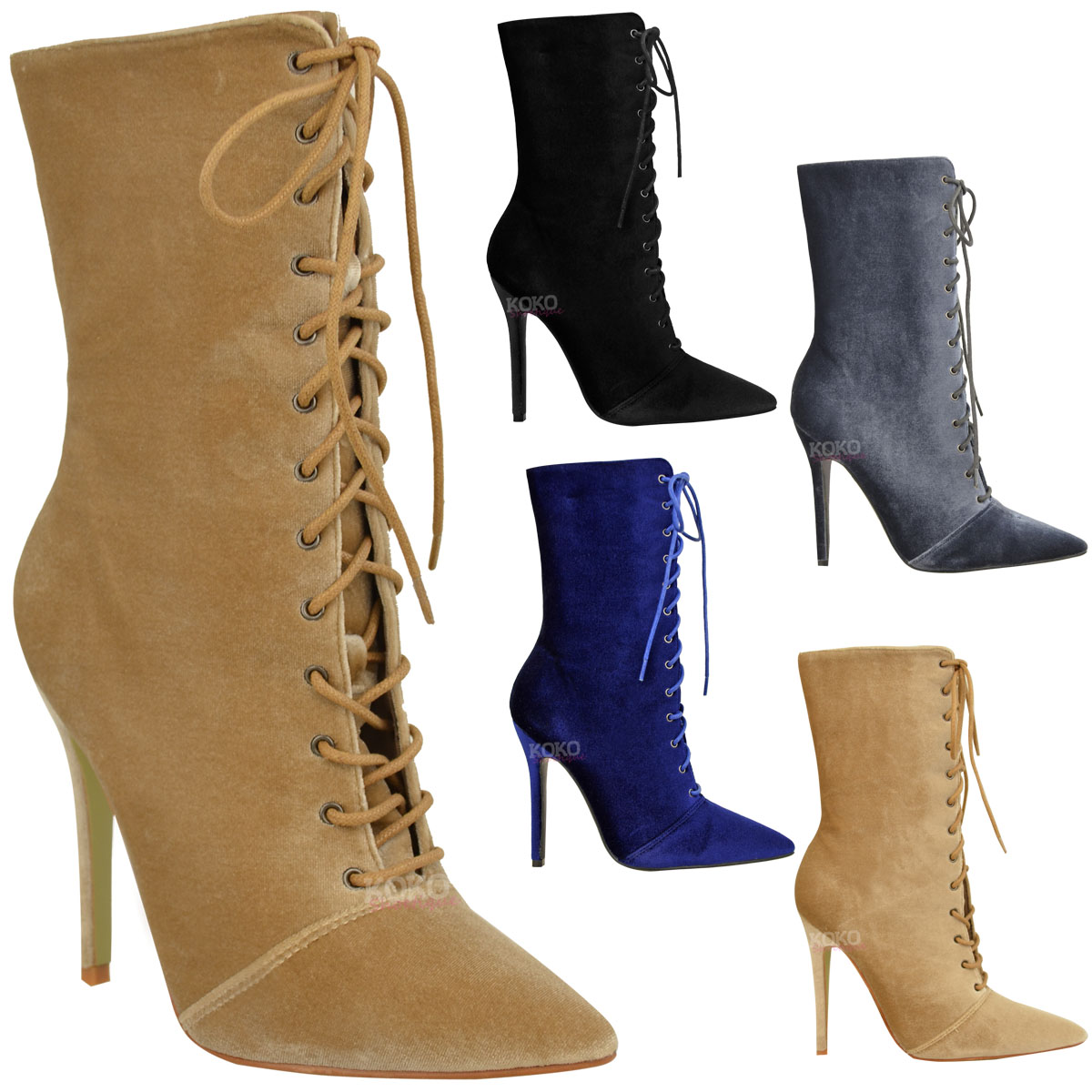 Lastest Fashion Women Ankle Boots High Heels Lace Up Snow Boots Platform Pumps