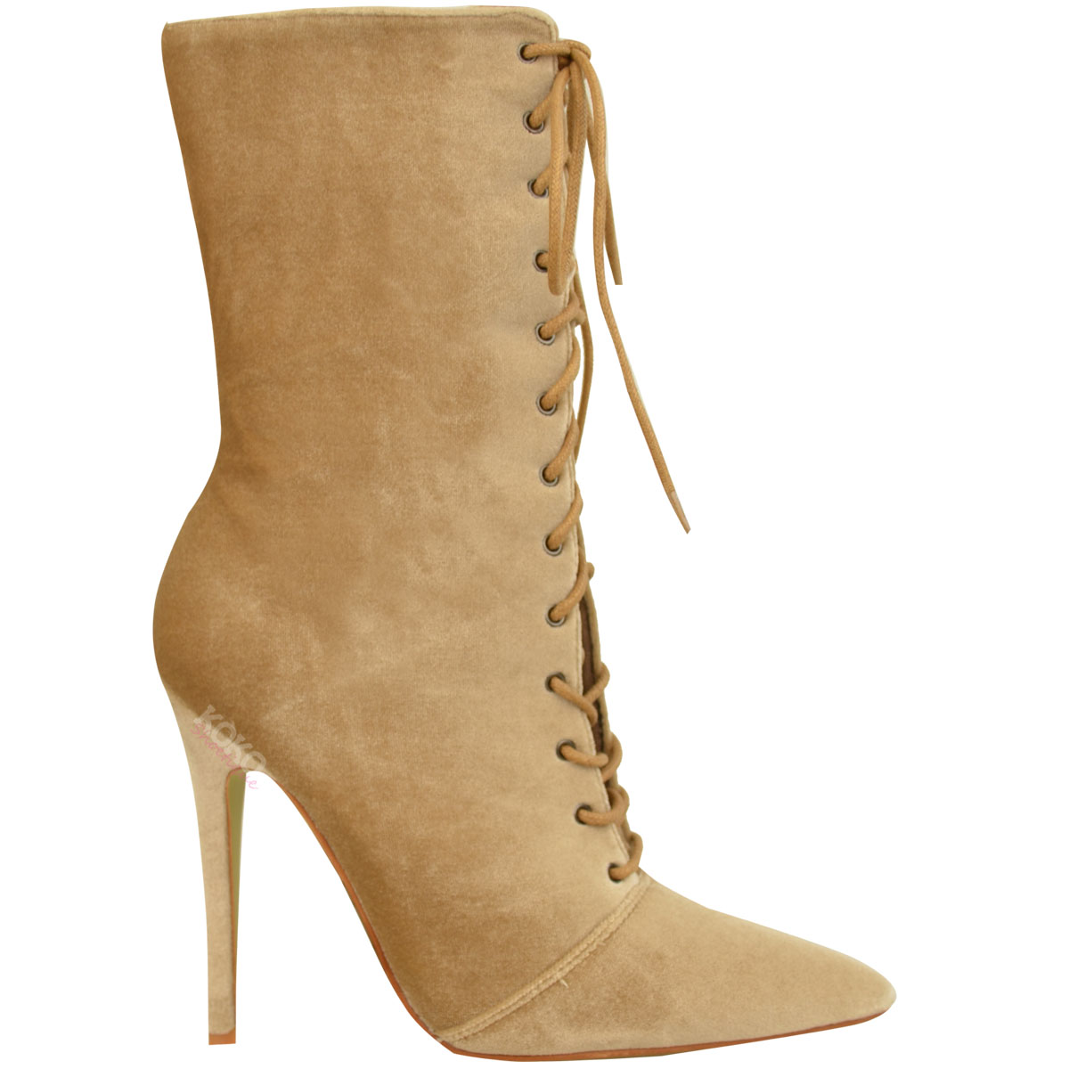 Ladies Womens Lace Up Stretchy High Heel Stiletto Ankle Boots Party ... ab343385d