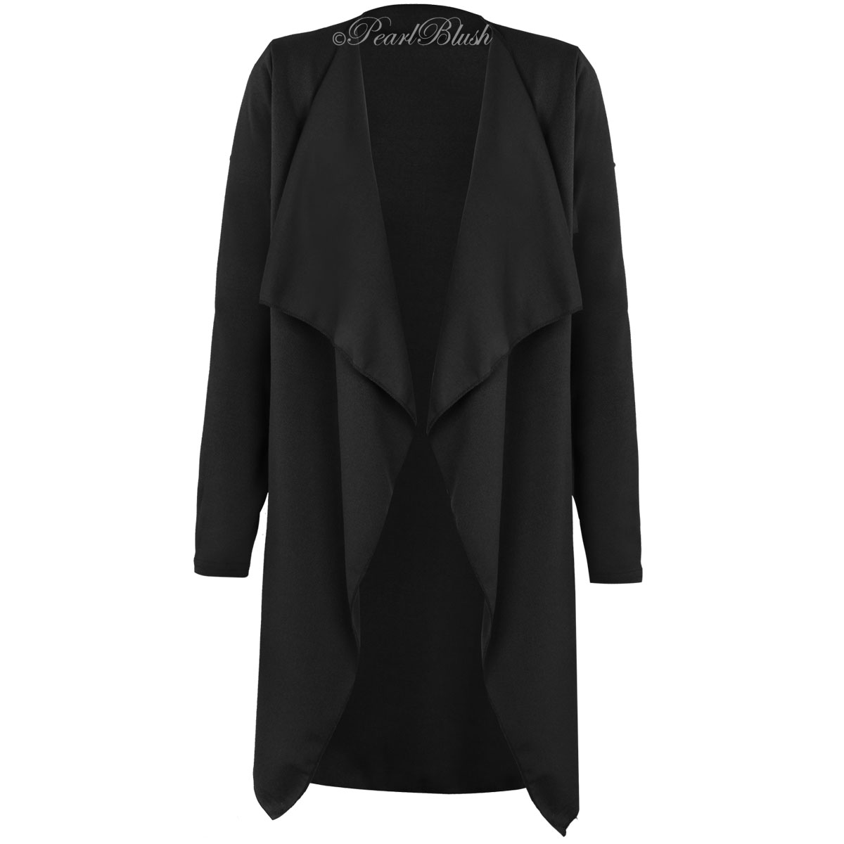 WOMENS LADIES LONG SLEEVE OPEN FRONT WATERFALL CARDIGAN JACKET ...