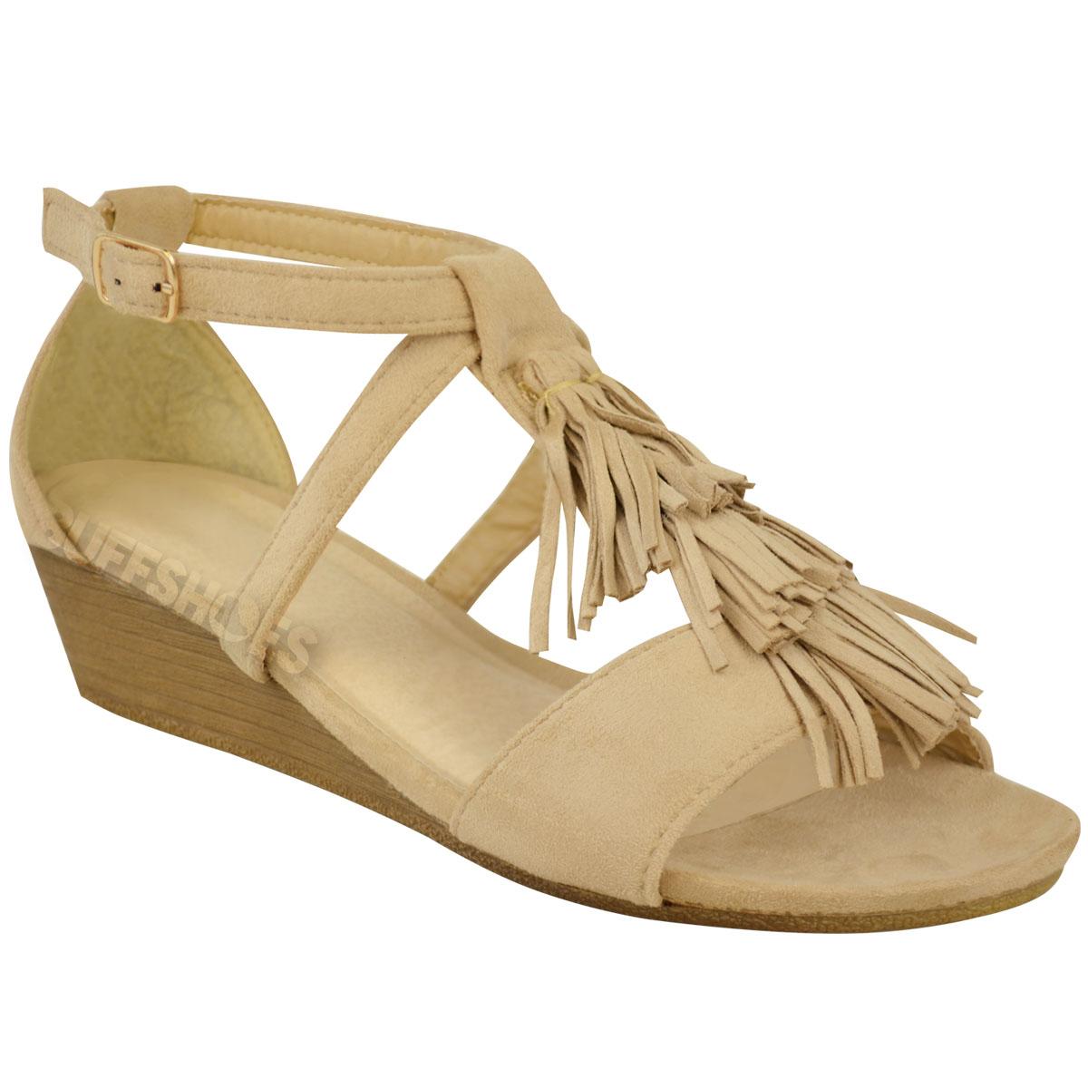 Nuevo Para Mujer Damas Cuña Baja Borla Tobillo Sandalias De Tiras Vacaciones Verano Tamaño