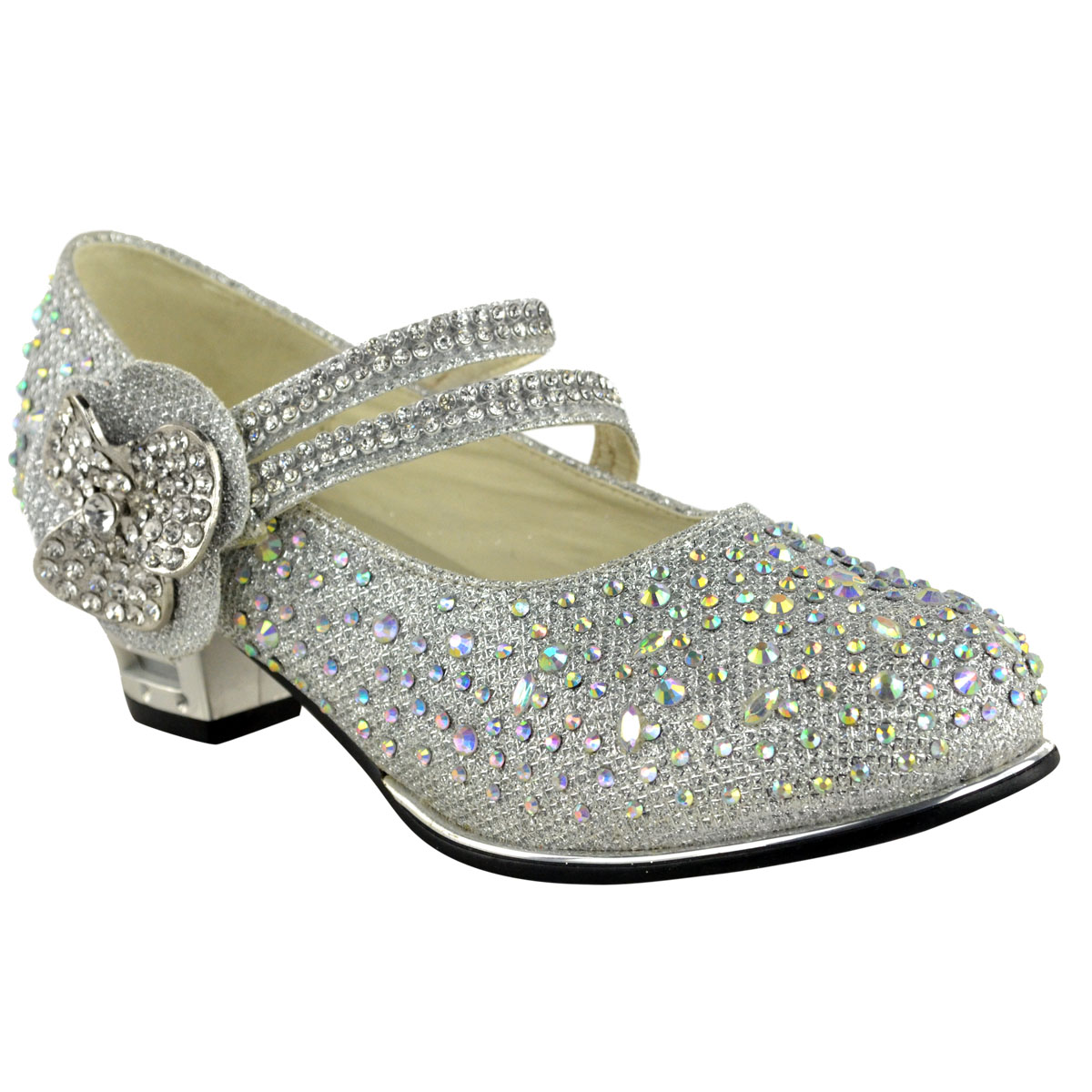 Childrens Girls Kids Low Mid High Heel Diamante Party ...