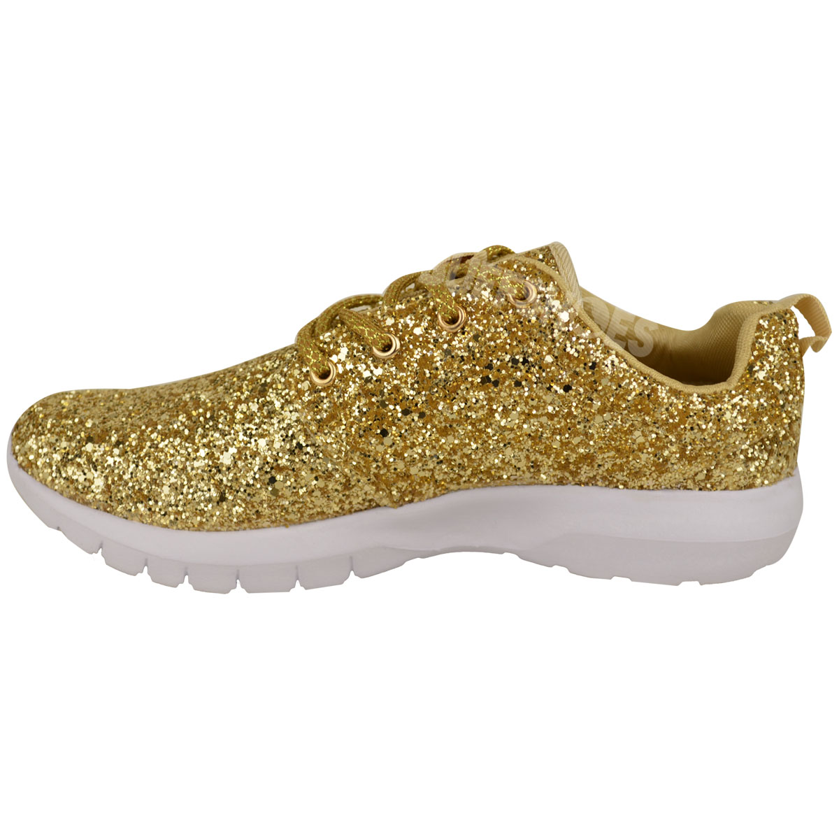 Womens Ladies Lace Up Glitter Sparkly Trainers Sneakers Gym Pumps Fitness Size | eBay