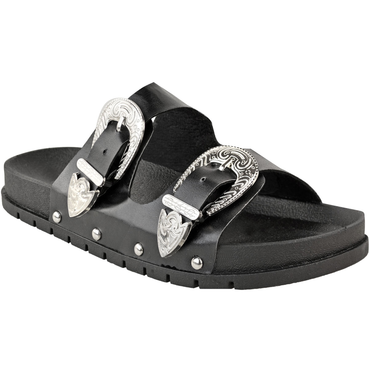 734baa4838af Womens Ladies Flat Slip On Sandals Sliders Studded Wide Strap Summer ...