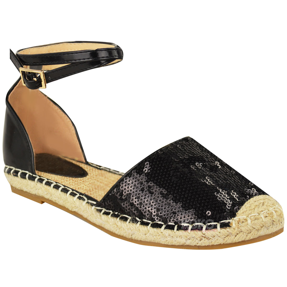 New Womens Ladies Summer Espadrilles Sandals Flat Ankle ...