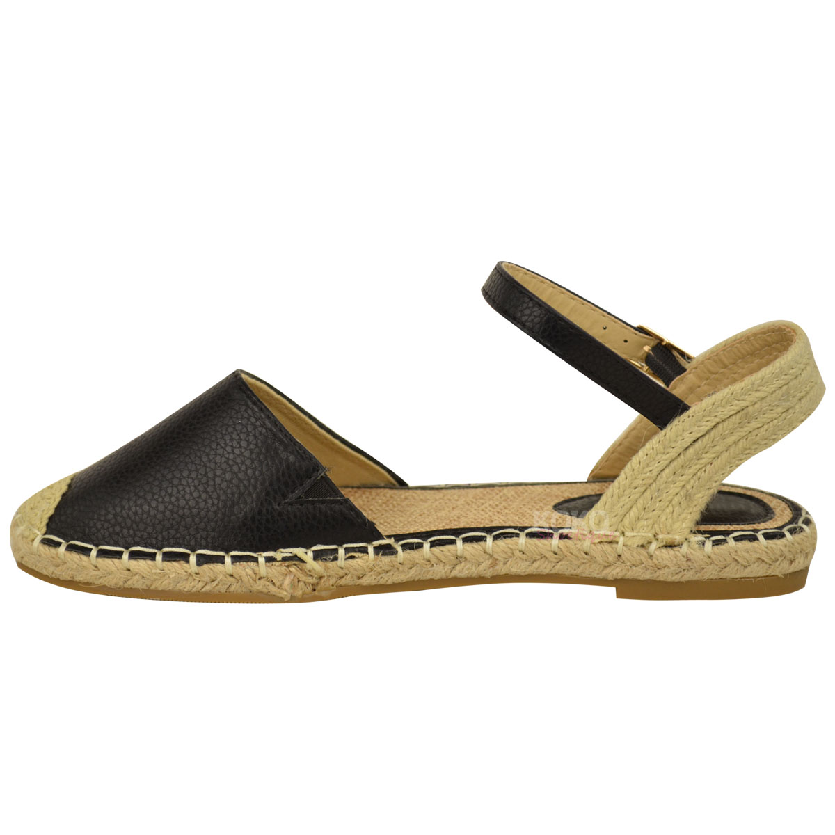 ladies womens ankle strap flat sandals moccasins