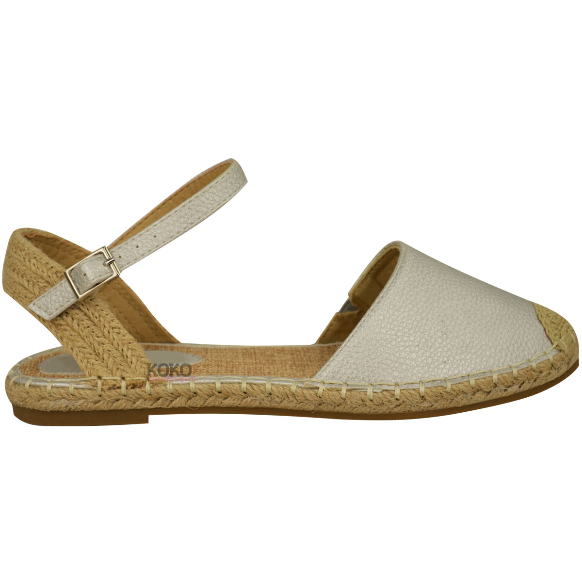 Ladies Womens Ankle Strap Flat Sandals Moccasins ...
