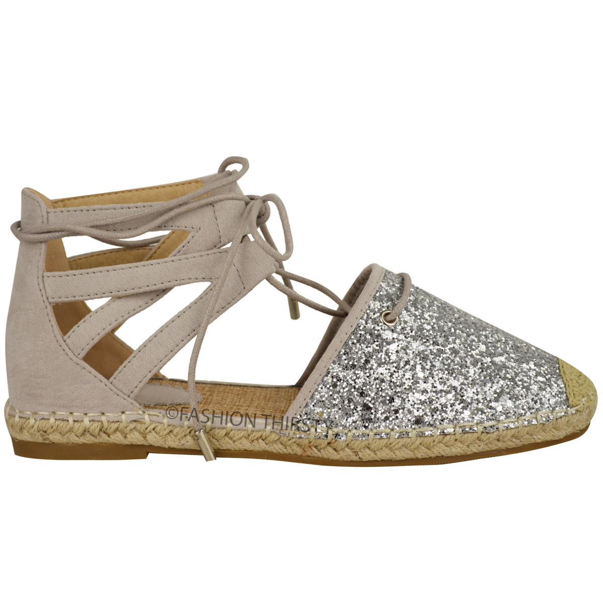 Flat heel sandals images - Womens Ladies Glitter Low Flat Heel Ankle Lace
