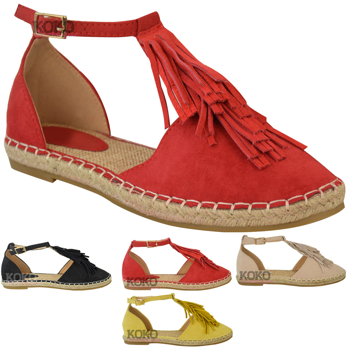 New Womens Ladies Flat Tassel Ankle Strappy Holiday Summer