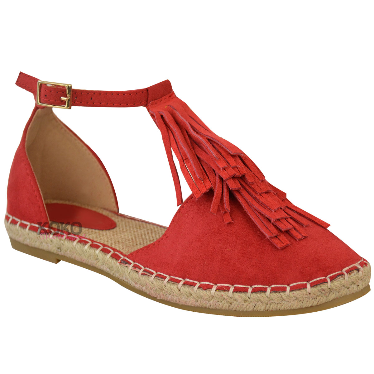 New Womens Ladies Flat Tassel Ankle Strappy Holiday Summer ...