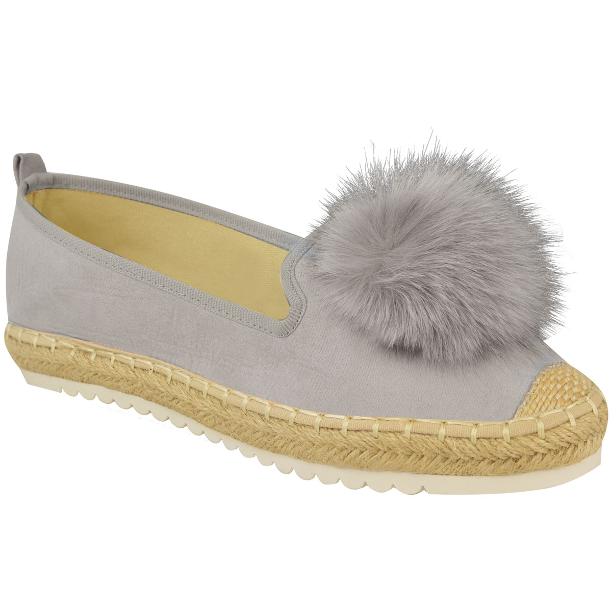 Womens Ladies Girls Faux Fur Pom Pom Espadrilles Flat