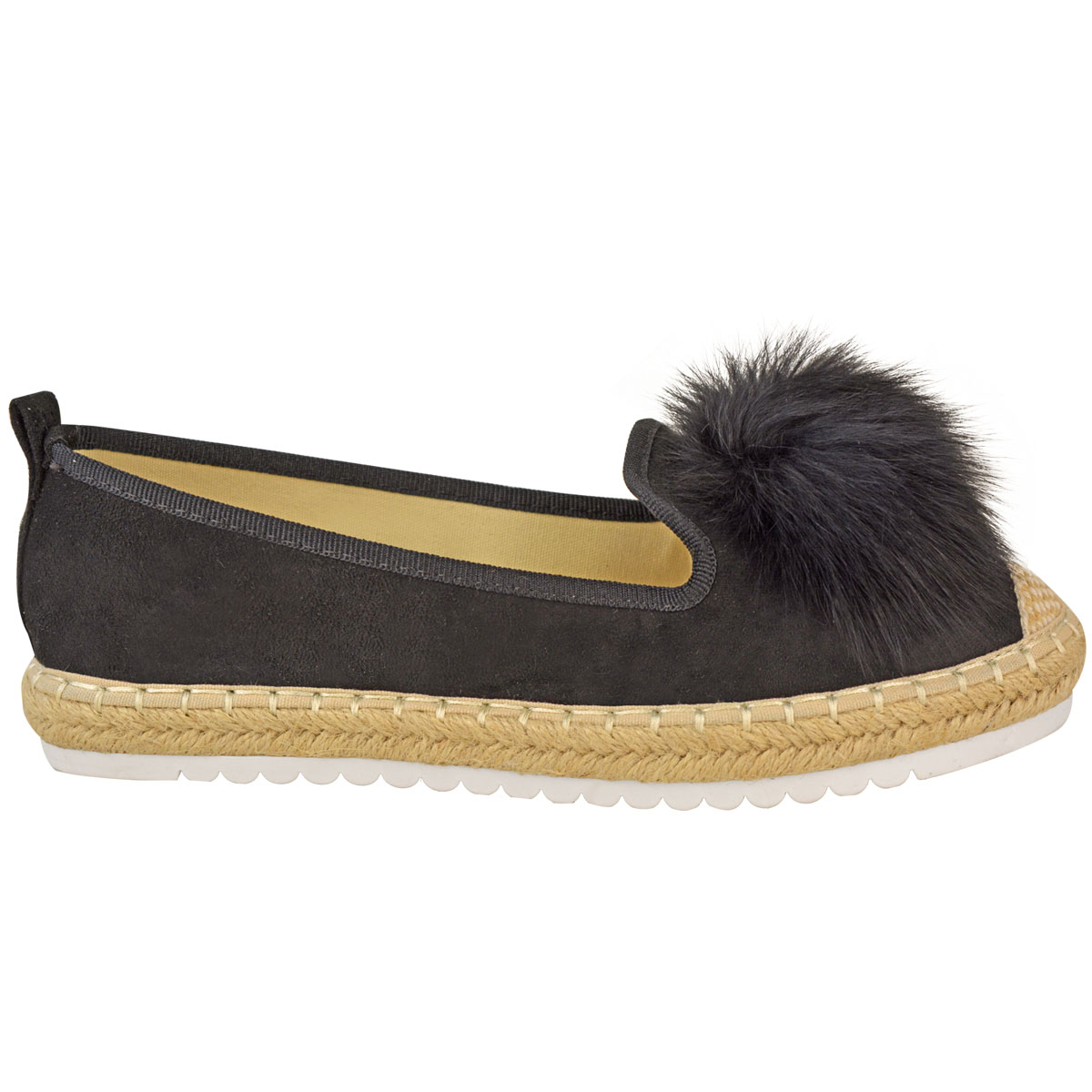 Womens-Ladies-Espadrilles-Flat-Pom-Pom-Sandals-Slip-On-Strappy-Comfy-Size-Shoes thumbnail 23