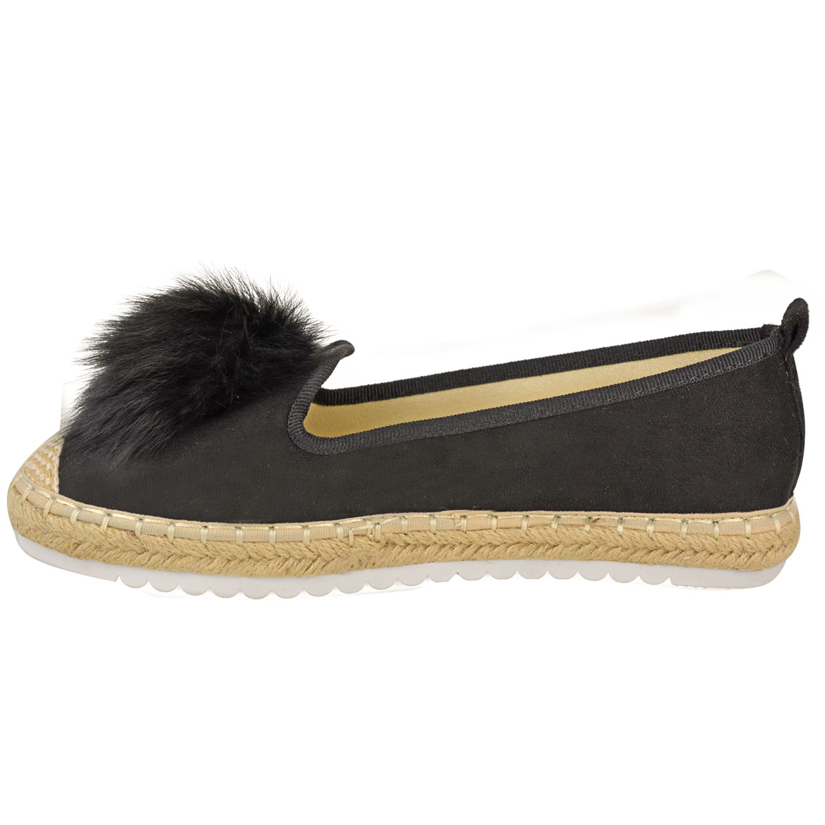 Womens-Ladies-Espadrilles-Flat-Pom-Pom-Sandals-Slip-On-Strappy-Comfy-Size-Shoes thumbnail 24