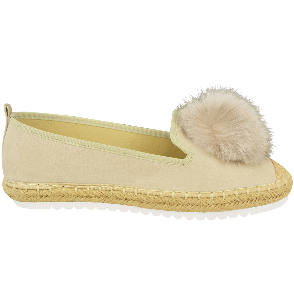 Womens-Ladies-Espadrilles-Flat-Pom-Pom-Sandals-Slip-On-Strappy-Comfy-Size-Shoes thumbnail 31