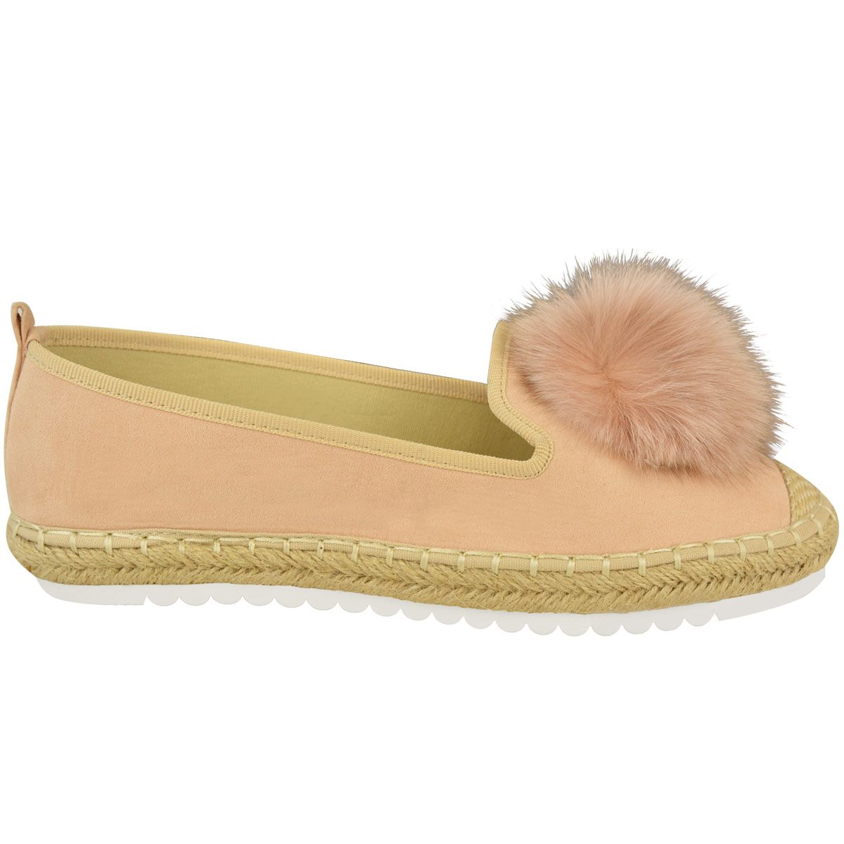 Womens-Ladies-Espadrilles-Flat-Pom-Pom-Sandals-Slip-On-Strappy-Comfy-Size-Shoes thumbnail 27