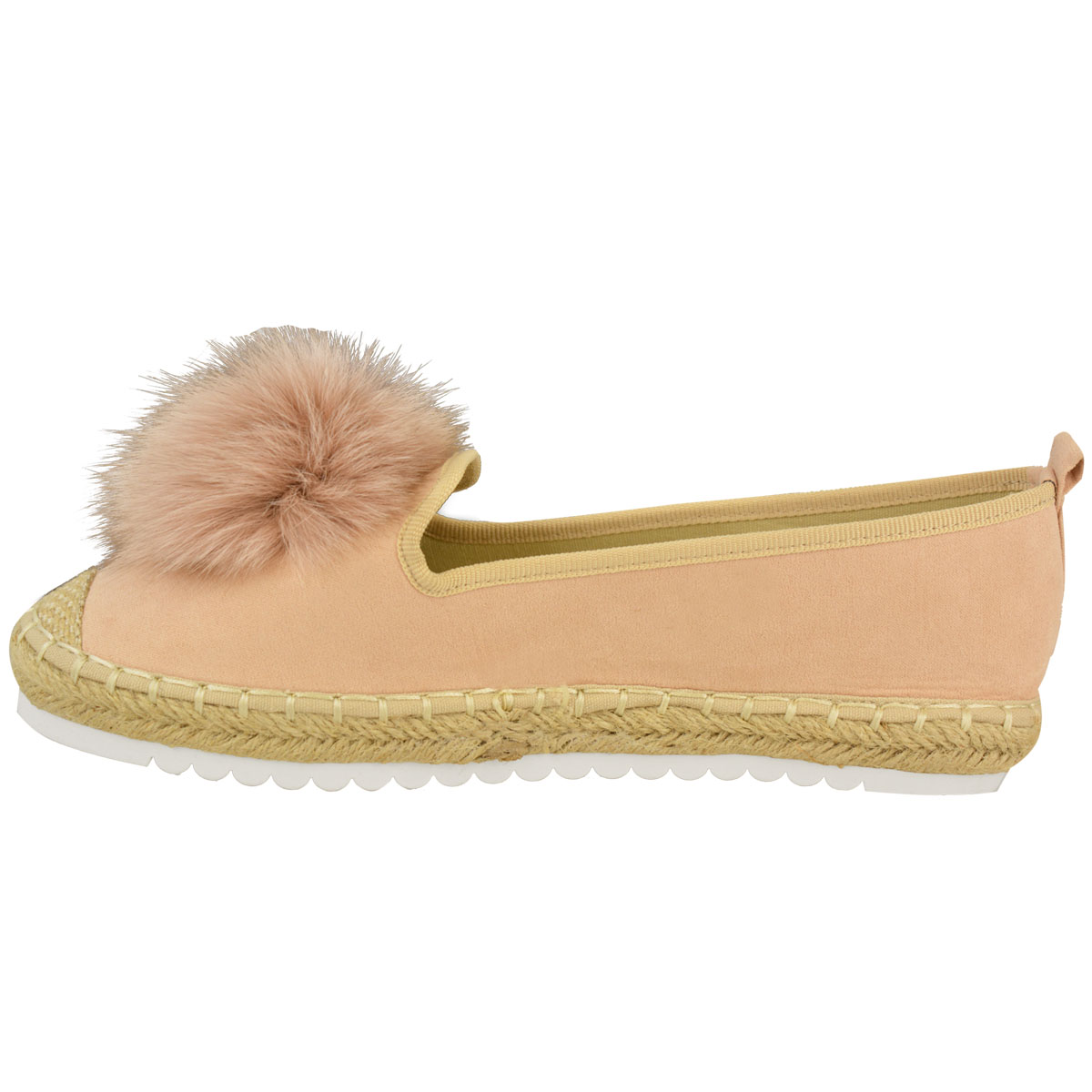 Womens-Ladies-Espadrilles-Flat-Pom-Pom-Sandals-Slip-On-Strappy-Comfy-Size-Shoes thumbnail 28