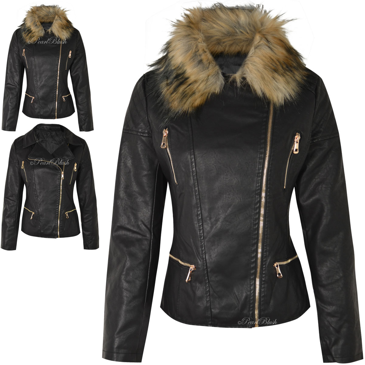 NEW WOMENS LADIES FAUX FUR DETACHABLE COLLAR LEATHER LOOK BIKER ...