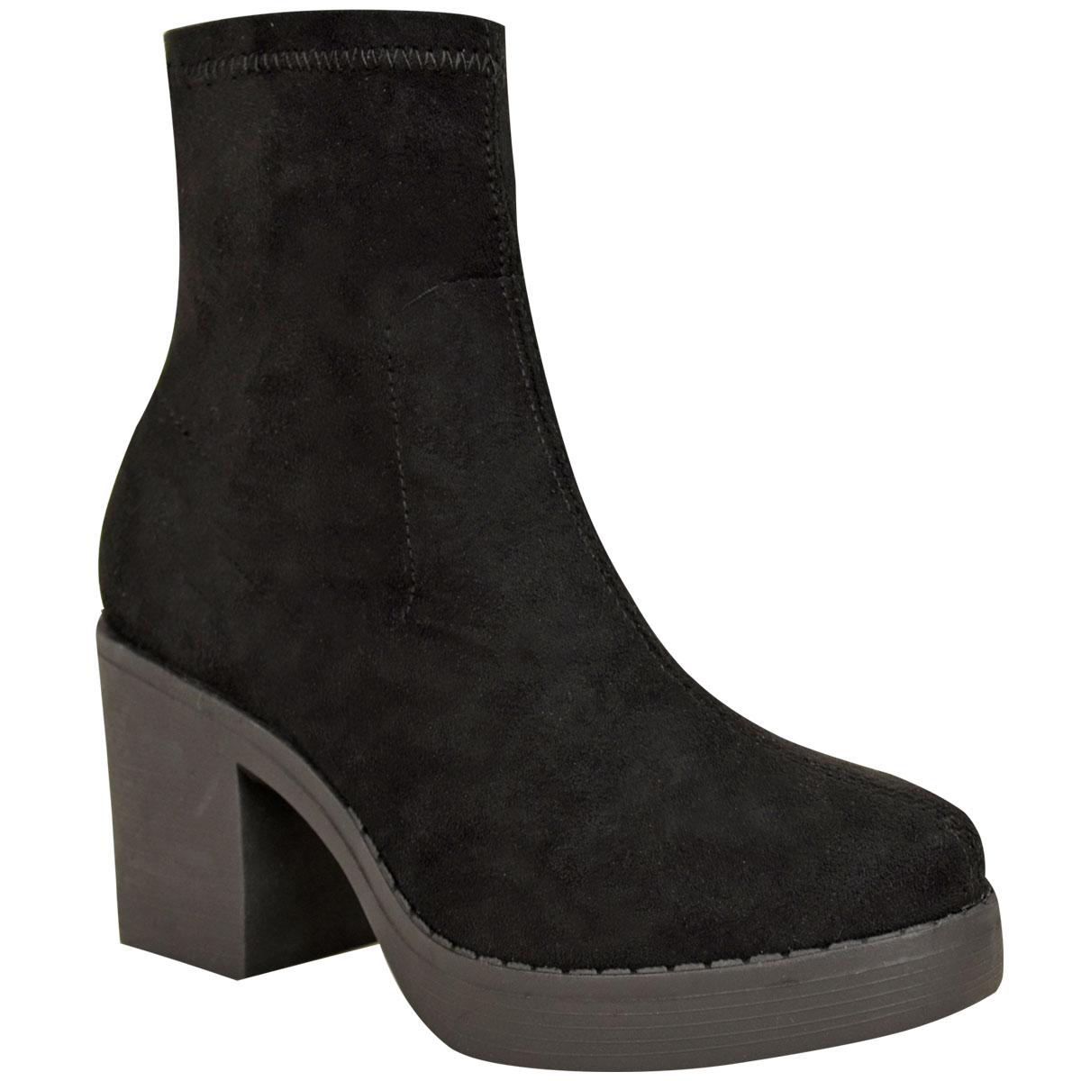 Womens Ladies Chunky Low Mid Block Heel Chelsea Ankle Boots Platform Shoes Size
