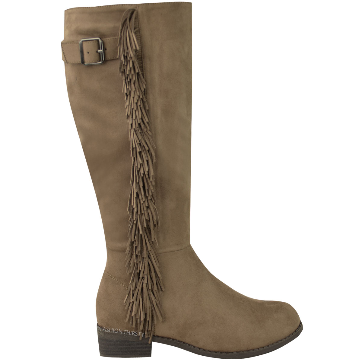 womens knee high tassel boots flat low heel