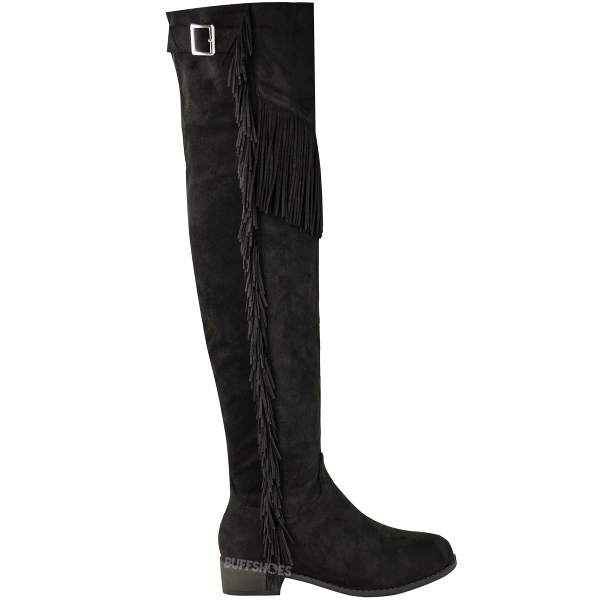 WOMENS LADIES OVER THE KNEE THIGH HIGH RIDING BOOTS FLAT TASSEL ...