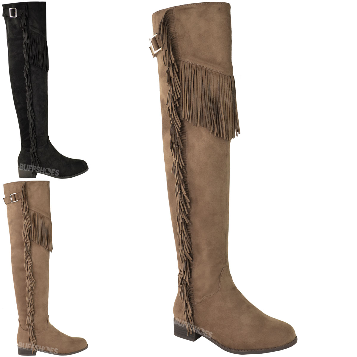 WOMENS LADIES OVER THE KNEE THIGH HIGH RIDING BOOTS FLAT TASSEL