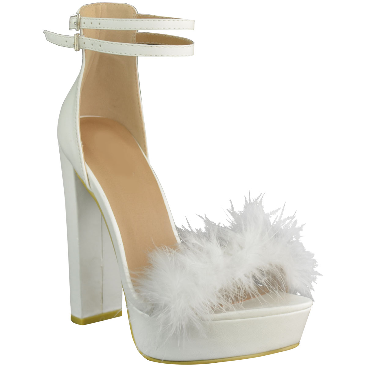 NEW WOMENS LADIES MARABOU FUR HIGH HEEL PLATFORM WEDGE SANDALS STRAPPY PARTY