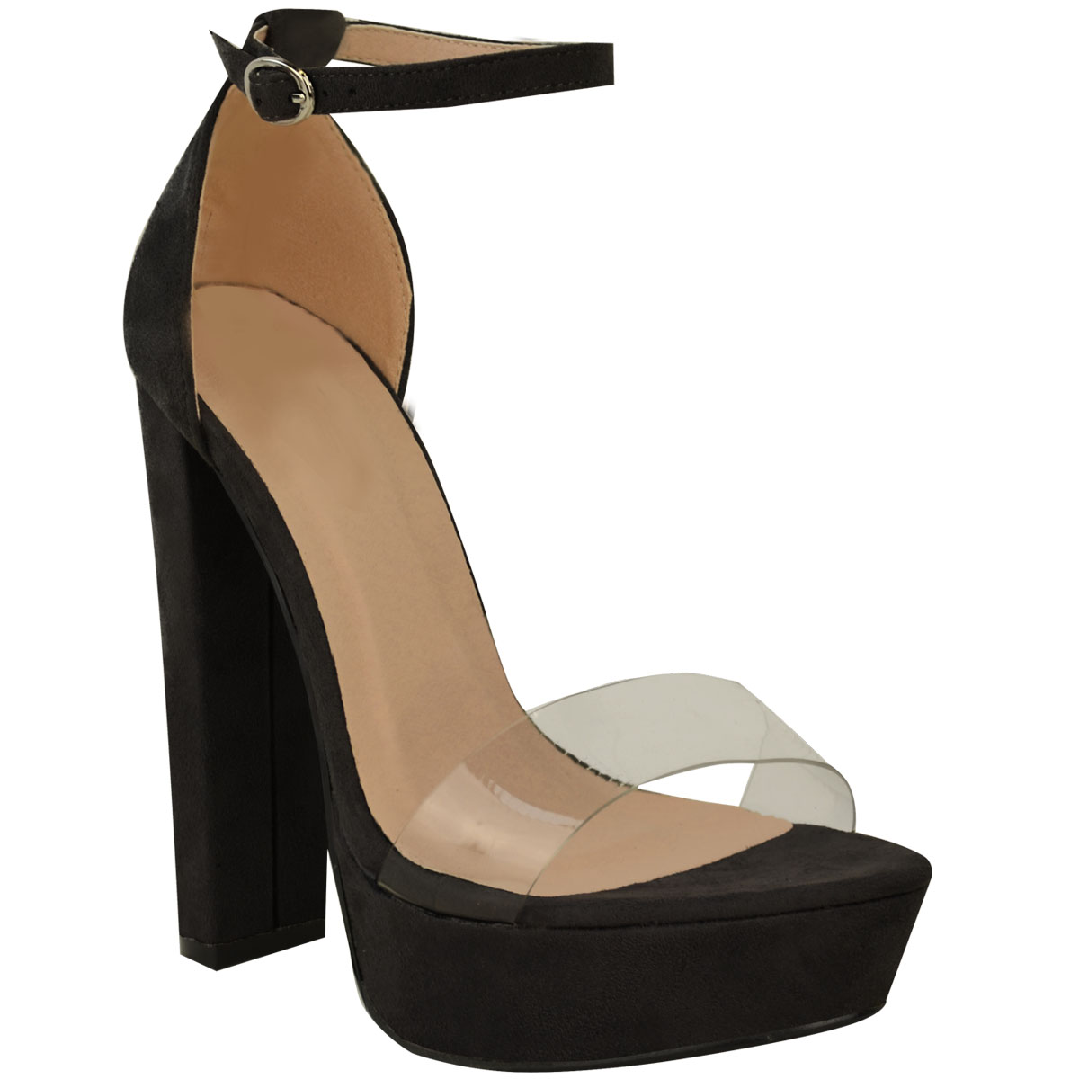 New Womens Ladies High Heel Perspex Ankle Strappy Celeb Sandals Shoes Size 3-8   EBay