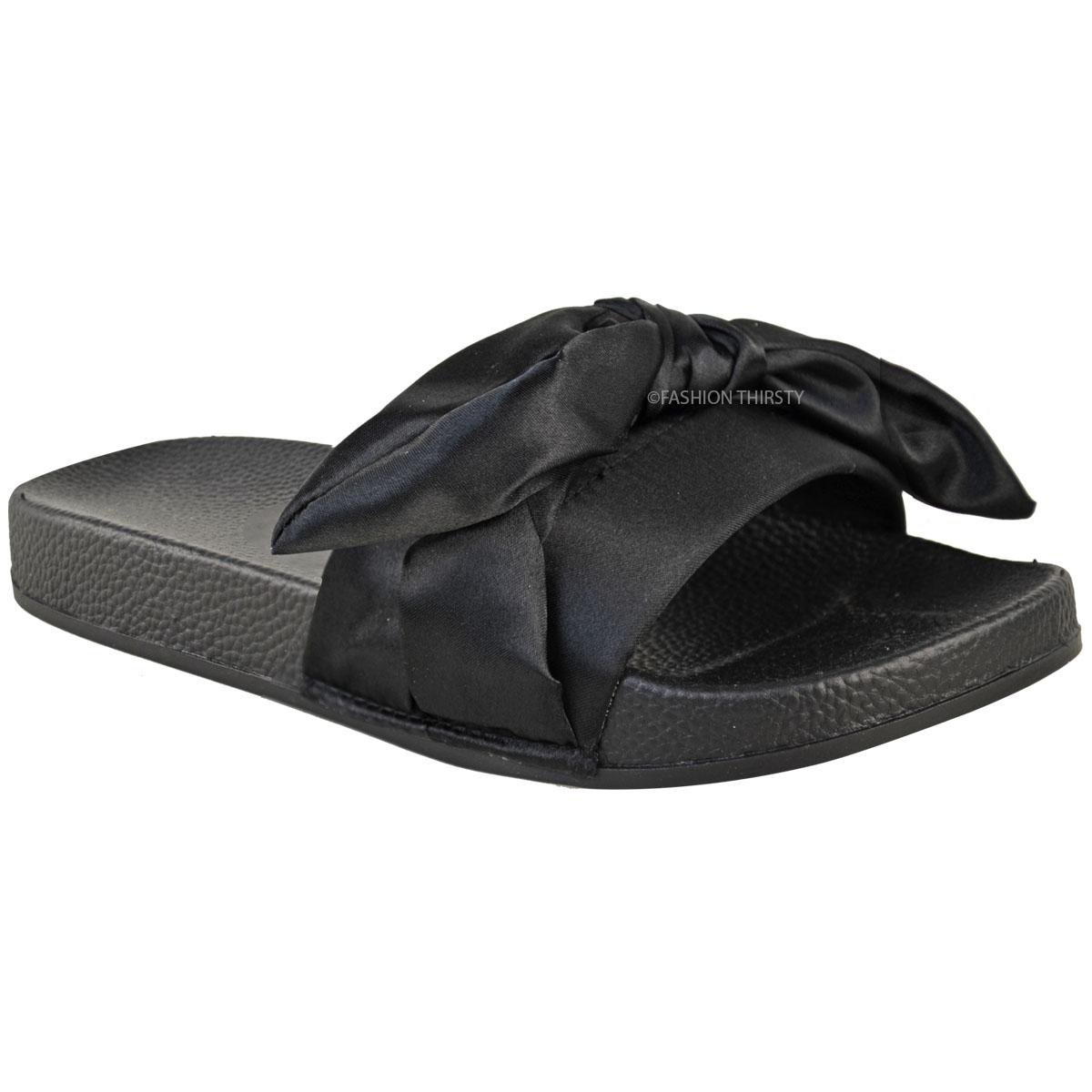 womens ladies slider flat slides sandals slip on mules slipper summer shoes size ebay. Black Bedroom Furniture Sets. Home Design Ideas