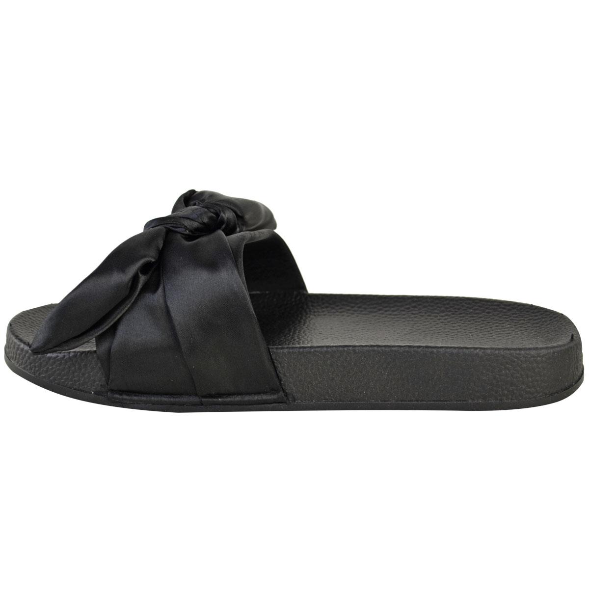 4dd998e64dfcba Womens Ladies Bow Sliders Sandals Flat Comfy Slides Slippers Satin ...