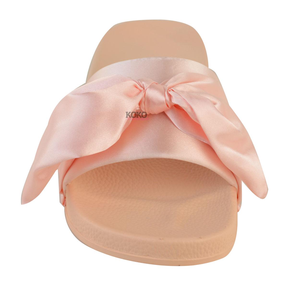 Wedding Slippers: Womens Ladies Comfy Flats Bow Sliders Satin Wedding Bridal