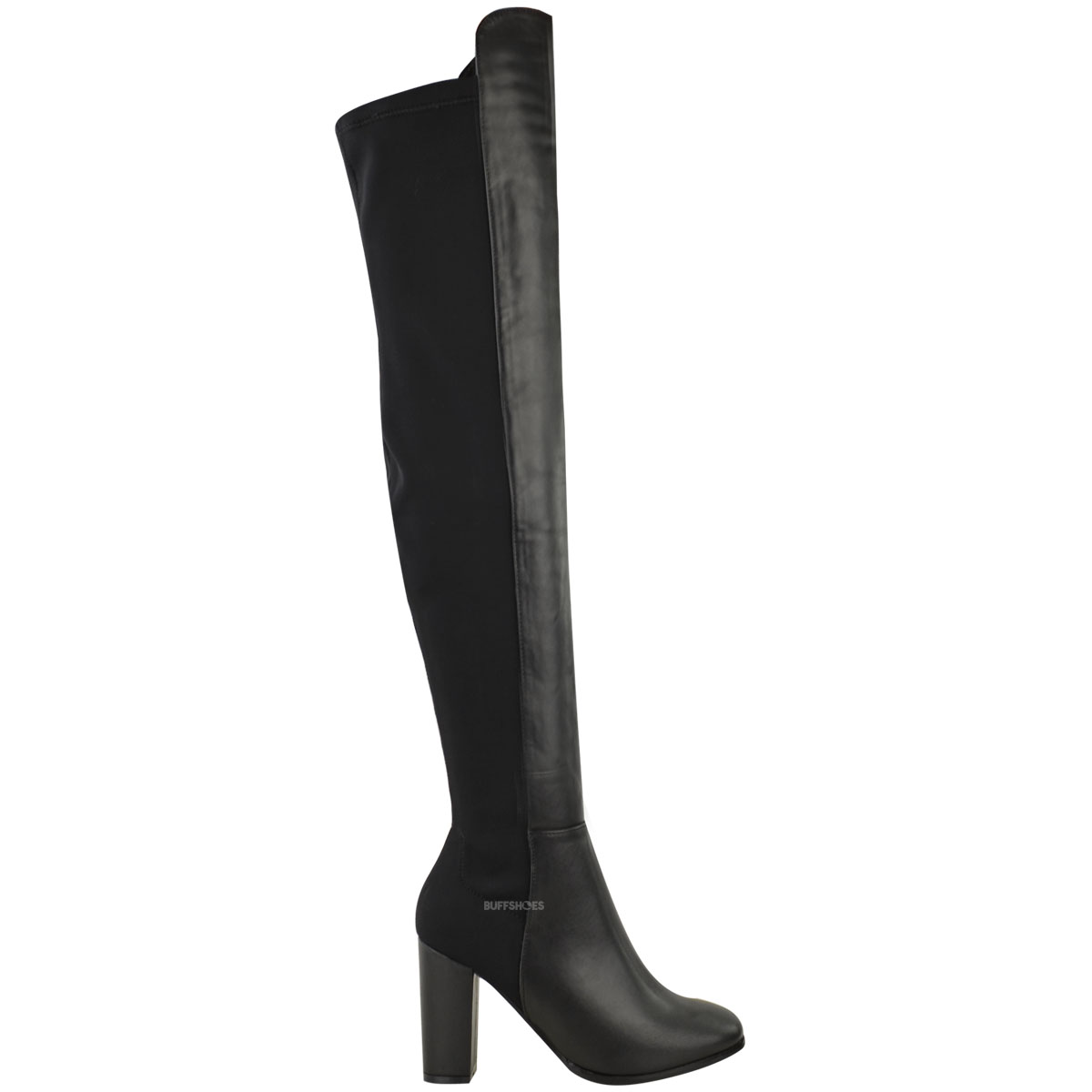 New Womens Ladies Over The Knee Boots Thigh High Block Heels Stretchy Shoes Size