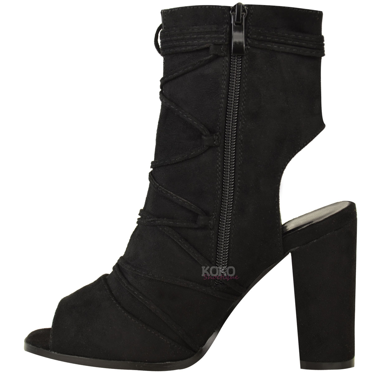 New Womens Ladies Block Mid High Heel Open Peep Toe Ankle