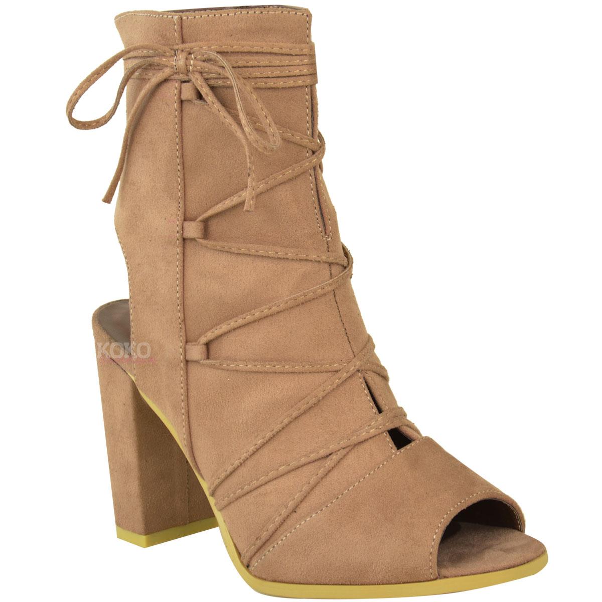 new womens block mid high heel open peep toe ankle