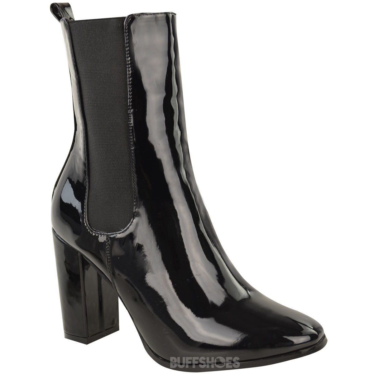 womens chelsea chunky block high heel ankle boots