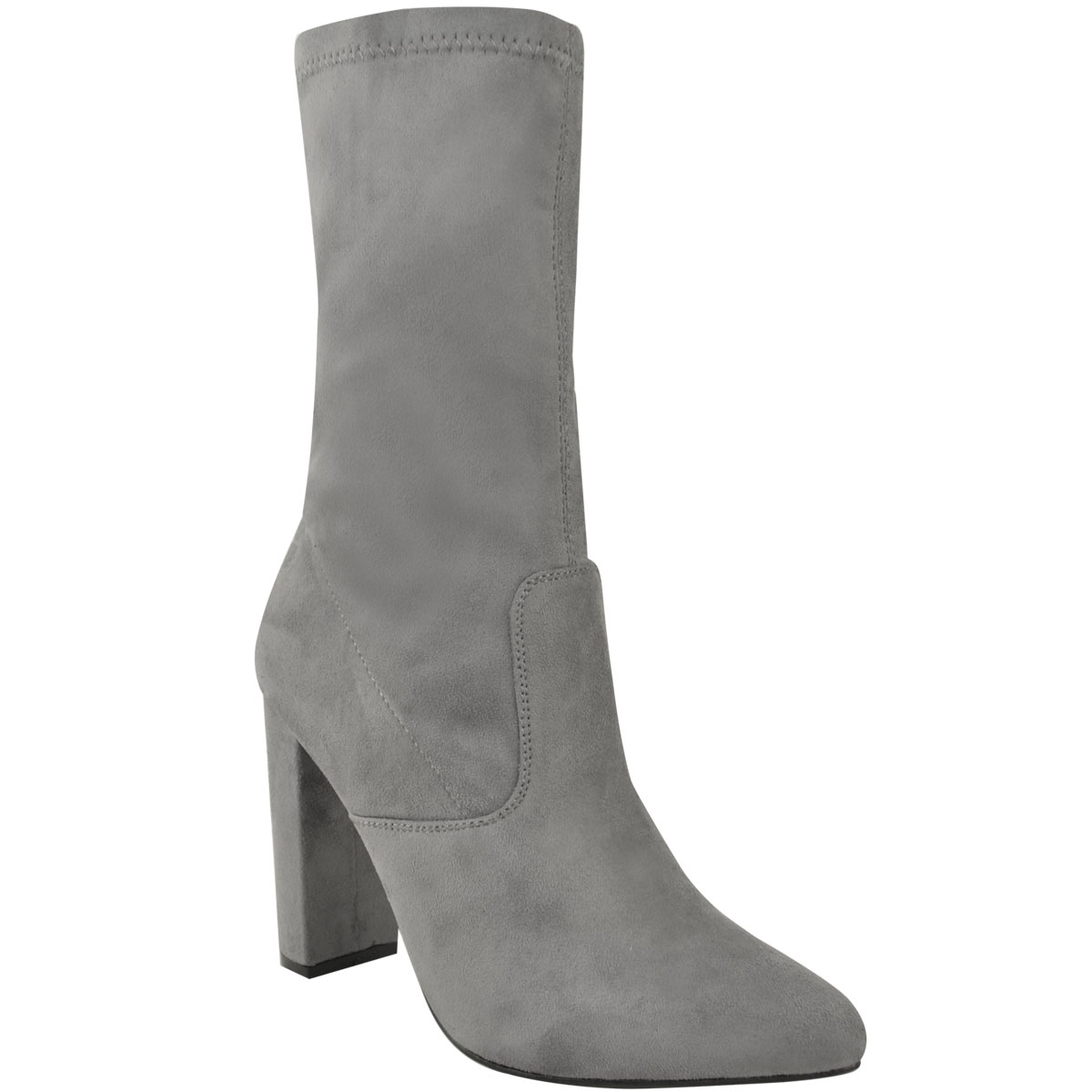 b2e11495e2294 Womens Ladies Long Ankle Boots Block Calf High Heels Casual Evening ...