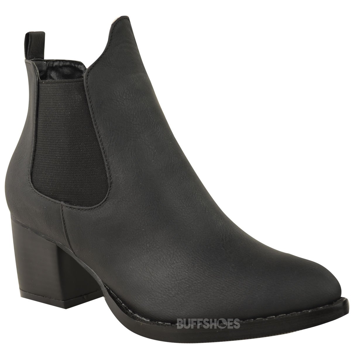 new womens chelsea boots low mid block heel pull on