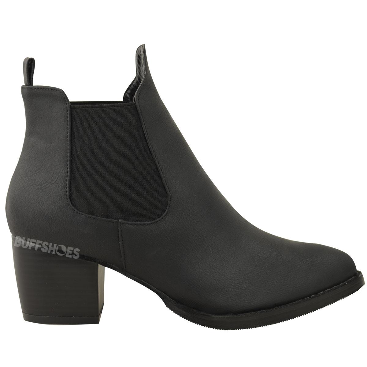 Popular  WomensHighBlockHeelPointedChelseaAnkleBikerBlackBootsShoes