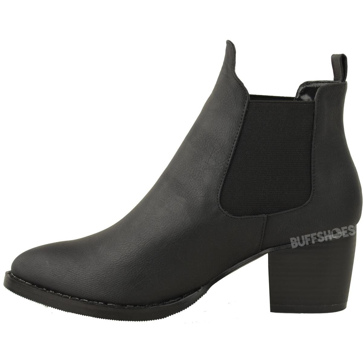 Awesome  WomensHighBlockHeelPointedChelseaAnkleBikerBlackBootsShoes
