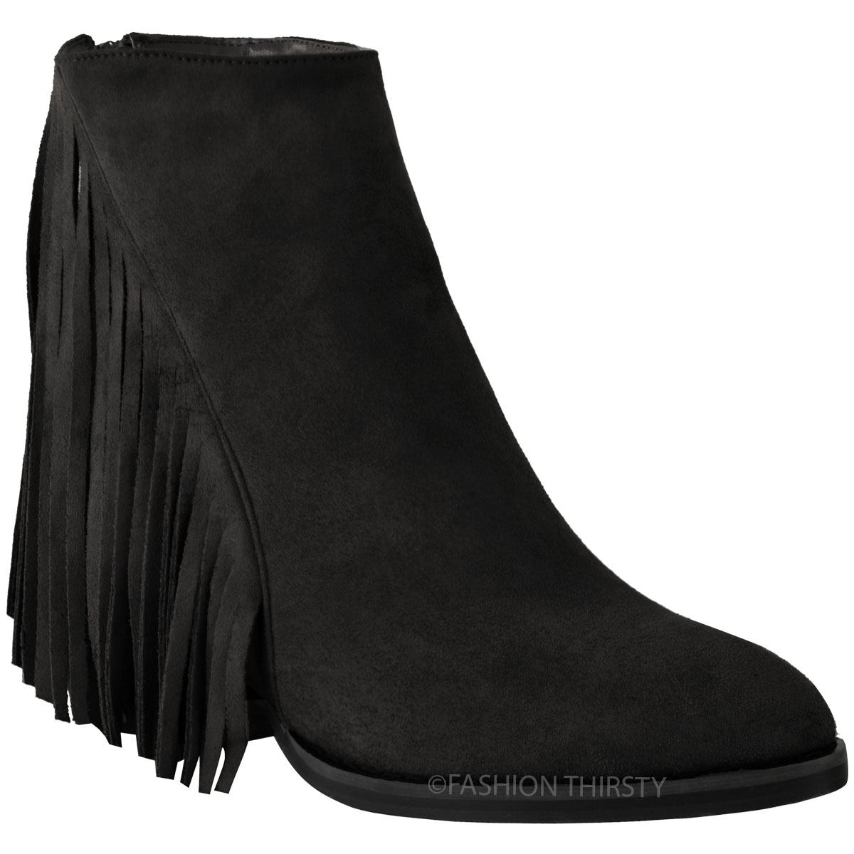 NEW WOMENS TASSEL FRINGE ANKLE BOOTS LOW BLOCK HEEL BIKER CASUAL ...