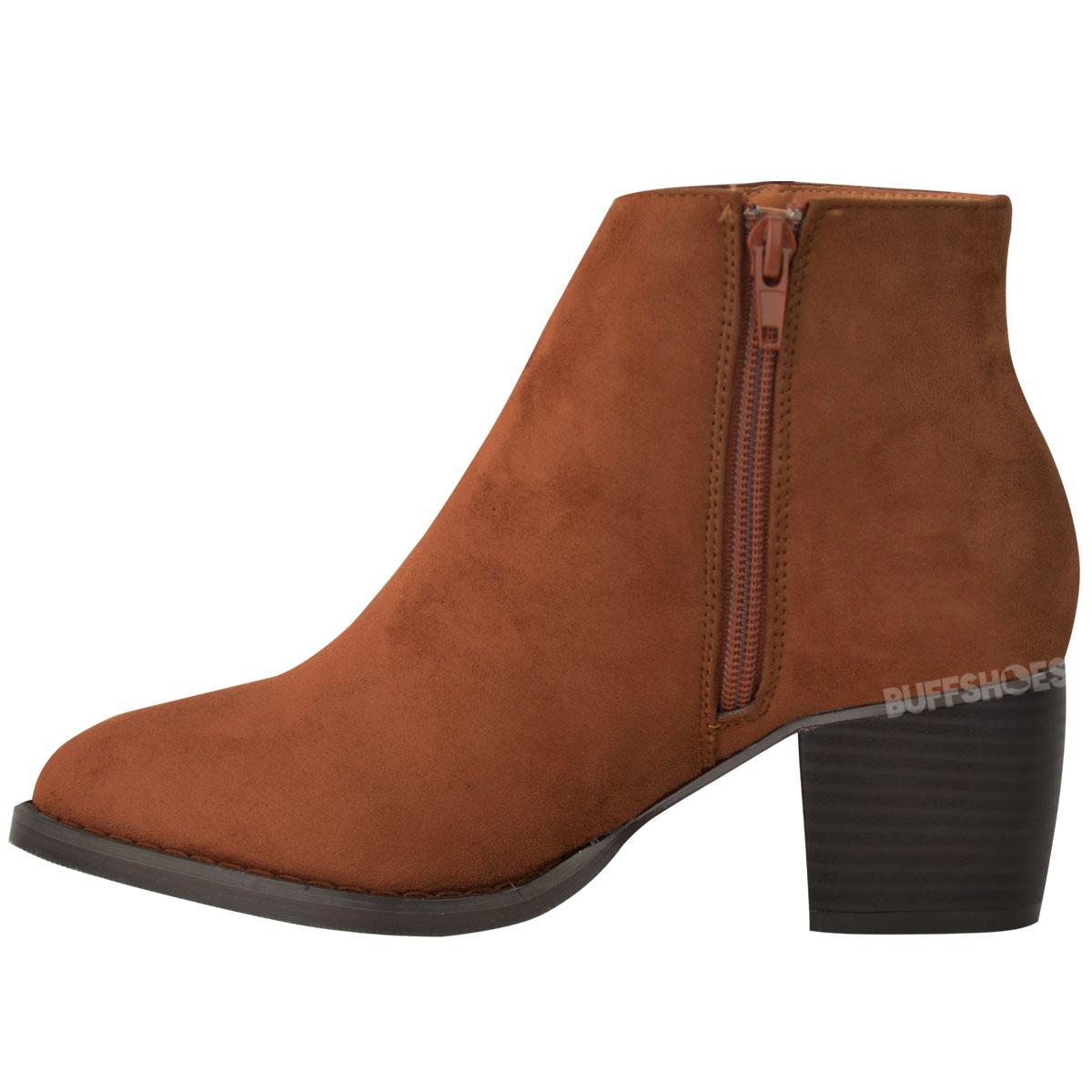 new womens low block heel ankle boots tassel work