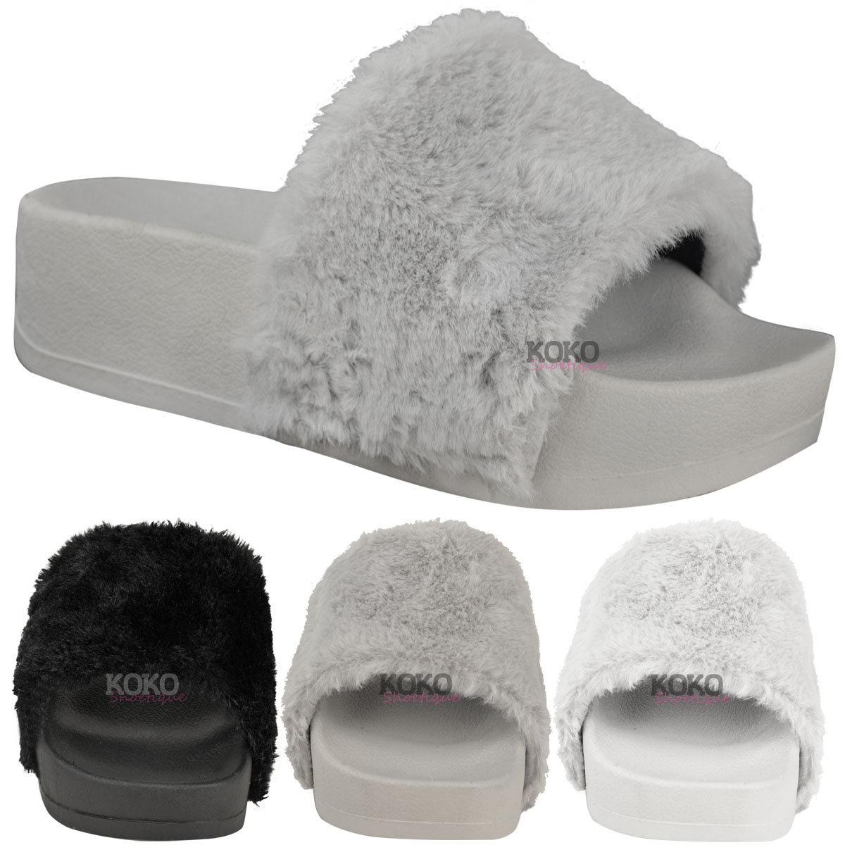 new womens ladies wedge flatform fluffy faux fur sandals sliders slip on size ebay. Black Bedroom Furniture Sets. Home Design Ideas