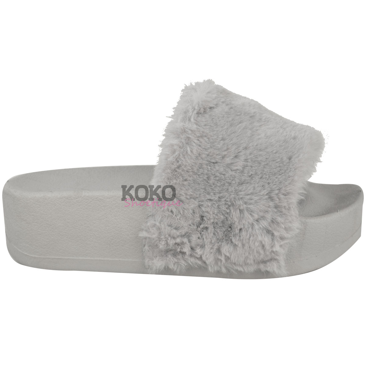 New Womens Ladies Wedge Flatform Fluffy Faux Fur Sandals