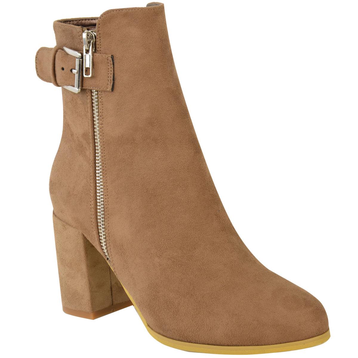 Womens Ladies Low Mid Block Heel Ankle Boots Chelsea ...