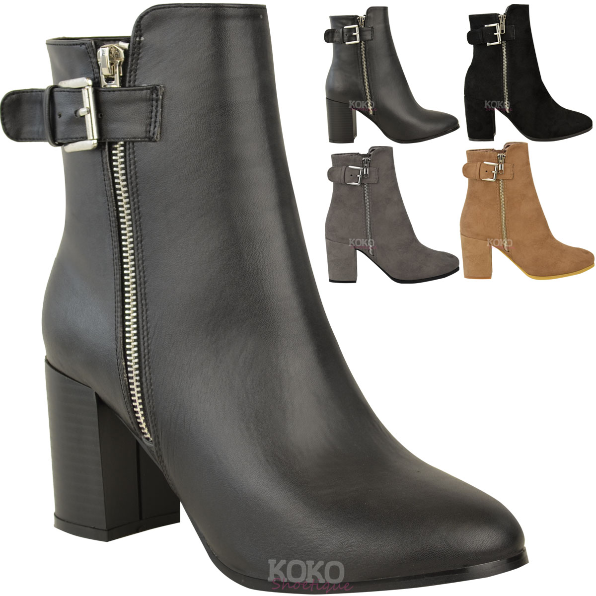 Womens-Ladies-Ankle-Boots-Block-Mid-High-Heels-Casual-Chunky-Winter-Shoes-Size