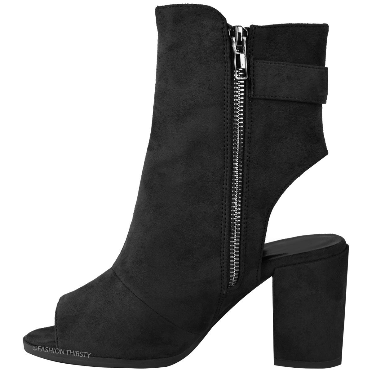 06e69c52f204 Womens Ladies Ankle Boots Mid Block Heel Peep Toe Open Back Buckle ...